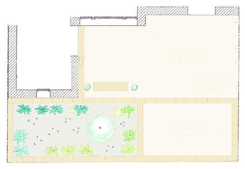 Gartenentwurf - moderner Vorgarten mit pflegeleichtem Kiesbeet und PKW-Stellplatz