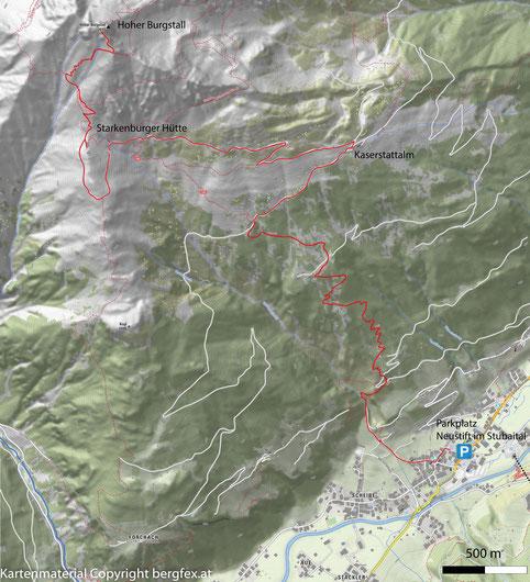 Route von der Starkenburgerhütte im Stubaital