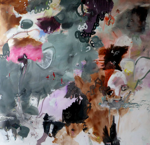 """""""Le petit pêcheur"""" Acrylique sur toile Dim150cmx150cm"""
