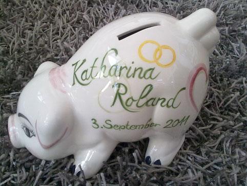 Zur Hochzeit ein wundervolles Geschenk, bemaltes Keramiksparschwein € 55,-