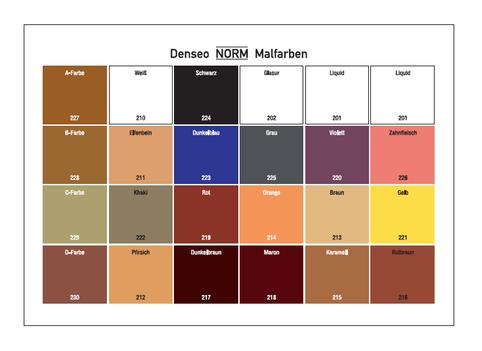 Großes Denseo NORM Malfarben Set mit 21 Basisfarben, 1 Glasur + 1 Liquid
