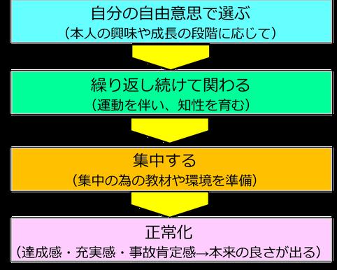 モンテッソーリ教育による幼児の「成長のサイクル」には、4つのステップがあります。