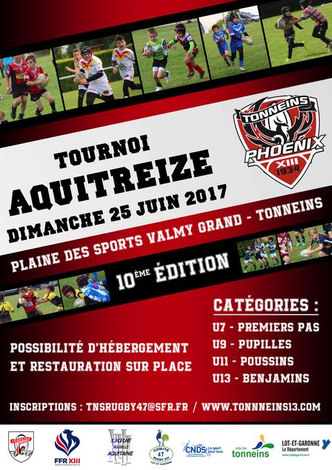 AFFICHE TOURNOI AQUITREIZE 2017 TONNEINS RUGBY XIII