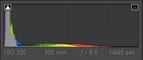 Bij een low-key opname bevindt de piek zich links in het histogram
