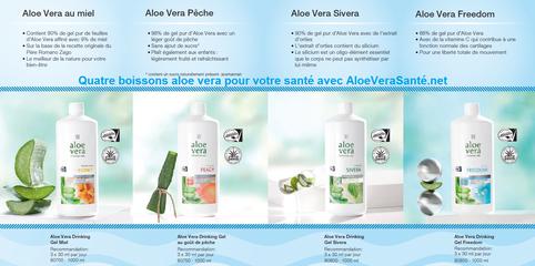Quatre boissons au gel d'aloe vera stabilisé à froid avec les label IASC et Fresenius Aloe via