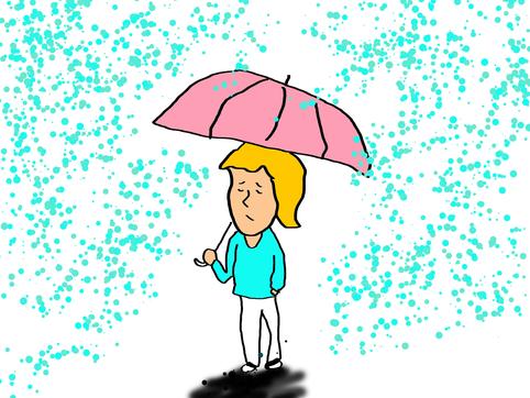 雨 体調悪くなるイラスト