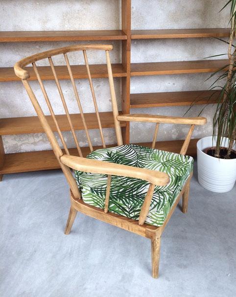 Baumann éventail, fauteuil vintage, palmier