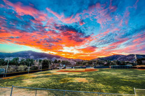 Field of Dreams - Baseball Diamond Sunset - Foto scattata il 17 Agosto 2013 - Fotografo: Elliot McGucken - Esposta alla Fine Art Photography for Los Angeles