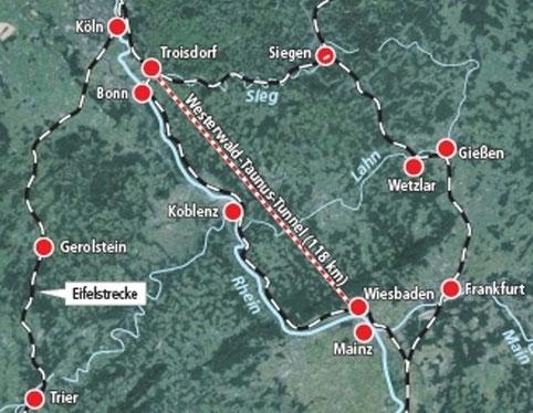 Tracé du tunnel reliant Bonn à Wiesbaden en évitant la vallée du Rhin