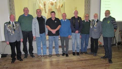v.l. Wilhelm Overdick, 1. Klaus Funke, 2. Hilmar Brandt, 3. Henning Meier, 4. Franz-Karl Engelke, 5. Peter Giesemann, 6. Gerhard Lamprecht, Hans-Wilhelm Wolke, Norbert Neitzel