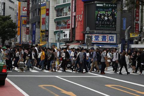 Riesige Kreuzung in Shibuya