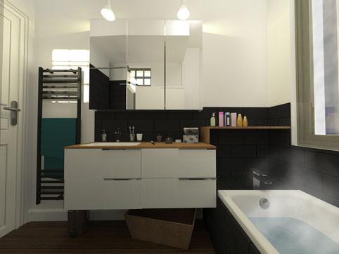 Rénovation salle de bain à Montpellier - visuel 3D  - architecte d'intérieur montpellier