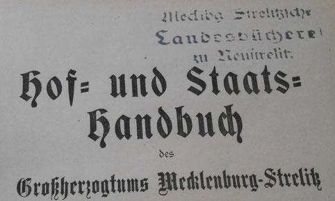 Titel des Hof- und Staashandbuchs des Großherzogtums Mecklenburg-Strelitz