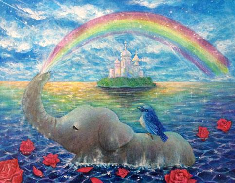「光の帝国」アクリル・キャンバス F6