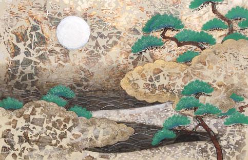 よわたるつきを 和紙・箔・岩絵具・墨・膠 M30
