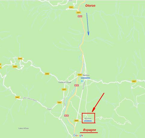 Plan pour venir à ACCOUS- N134 direction Bedous puis Accous.