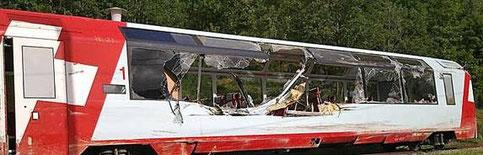 Der umgekippte Glacier Express Wagen