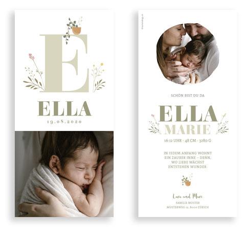 Geburtskarte Geburtsanzeige kartendings.ch Babykarte mit Foto