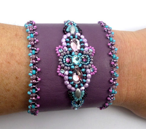 photo-bracelet-brode-sur-cuir-orange-pierre-fine-oeil-de-tigre-galon-fourrure-marron