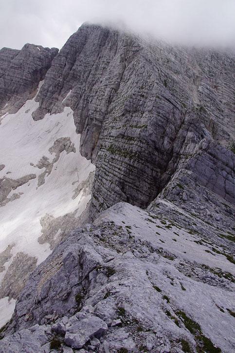 Spektakulärer Abstieg vom Picco di Carnizza Richtung Kanin