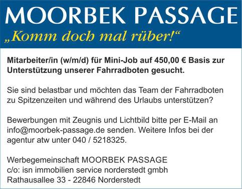 Aushilfsjob, 450 Euro Job, Jobs, Minijob, Moorbek Passage, Norderstedt