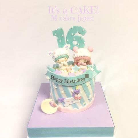 キキラライメージのカワイイケーキ🎂 #キキララ #パステルカラー #カワイイ #リトルツインスターズ #キャラケーキ #砂糖フィギュア #littletwinstars #kiki #lala #kawaii #kawaiicake #japan #charactercake #16birthday #🇯🇵 #torte #gateau #cake #誕生日ケーキ