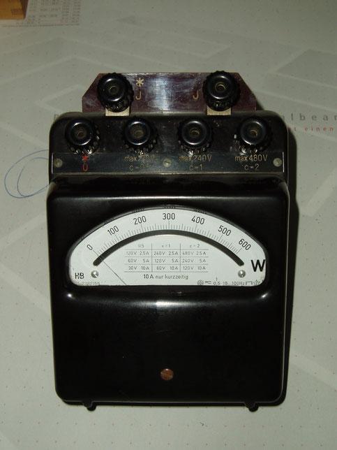 Hartmann & Braun  Leistungsmessgerät ( Wattmeter ) bis 600 Watt.
