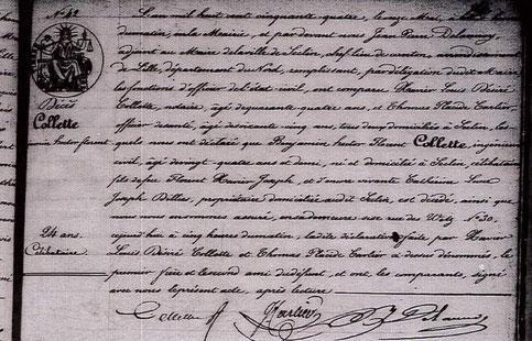 """Acte de décès du jeune """"génie"""" ingénieur : Hector Collette (1829-1854)"""