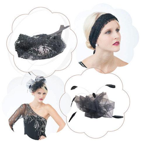 Haarblüten, Fascinators, Haarreifen und Haarbändern in Schwarz. Edel, elegant, vintage, 20er Jahre, Gatsby, 70er Jahre etc.