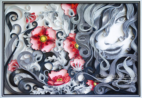 quilling, quilling art, paper, paper art, design, wall art, quilling wall art,girl, flowers, quilling flower, poppies, gift, love, love art, love artwork,  Etsy, любовь, квиллинг, бумага, дизайн
