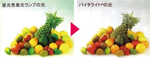 「バイタライトに替える」だけでこれだけ色が変わって見えます。これが商品の「ほんものの色」です