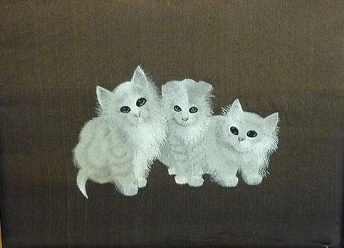 English 19th century folk art silkwork of 3 kittens