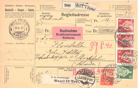 Nur ein Monat später. Ein weiterer Korb Efeublätter für Stockholm, diesmal abgeschickt von Gottfried Liechti. Der Preis war der selbe: Fr. 12.–