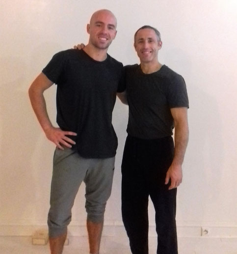 Yuval Ayalon and Theo Philosport one arm handstand