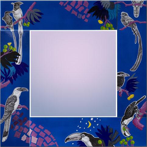 Emaille Spiegel -Vögel-