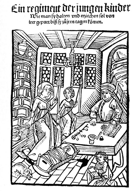 """Deutsche Bürgerstube im 15. Jahrhundert. Titelbild des """"Meltlingerschen Kinderbuchs"""", Augsburg 1497."""