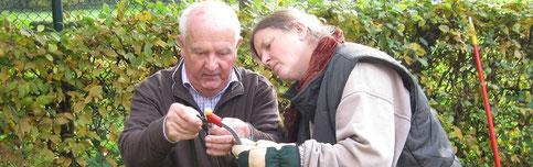 Herbert und Sabine prüfen Werkzeug