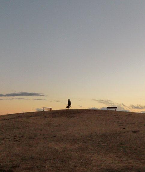 1月13日(2014) 丘に登る人:武蔵野の森公園(展望の丘)