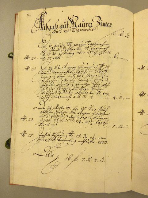 ARCHIVRECHERCHE: Projekt Stein Rathaus, Sichtung und Auswertung der Baurechnungen aus den Jahren 1701/1702.
