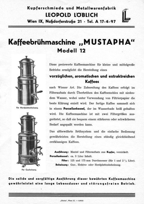 """In allen renommierten Caféhäusern vertreten: die """"Mustapha"""" Filter Kaffeemaschine von Löblich"""