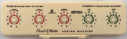 Sterling nº 567 DIAL-A-MATIC Adding Machine, año 1956, 25x7x3 cm