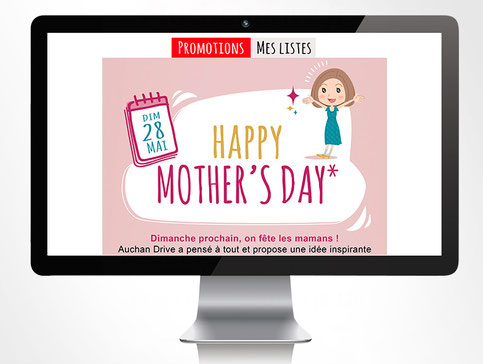 LSZ Communication - Graphiste - Directrice artistique freelance Nantes - #lepetitoiseaudelacom - Auchan Drive - Emailing - Fête des mères - Agence Caribou