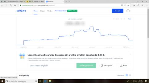 Hier sieht man die Startseite der aktuellen Coinbase Webseite.