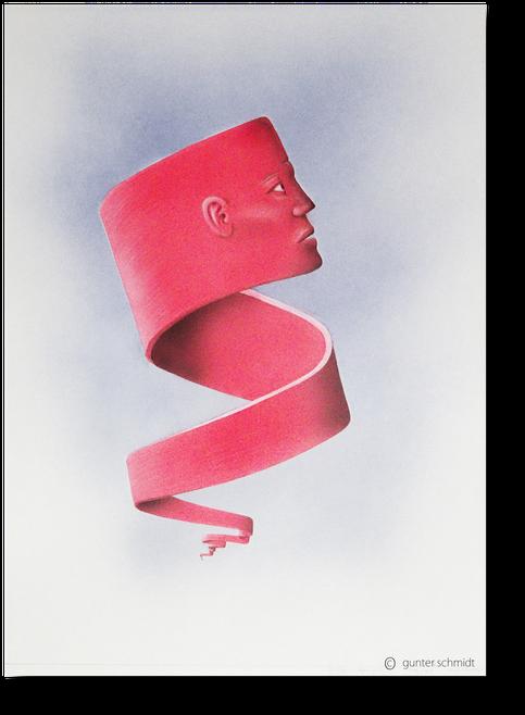 Gesicht am Himmel. Ein rotes wehendes Band mit einem Gesicht  das scheinbar am Himmel schwebt.