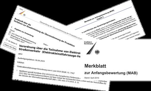 Überprüfung der Übereinstimmung der Produktion (CoP), Merkblatt zur Anfangsbwertung (MAB), Elektrokleinstfahrzeuge-Verordnung (eKFV)