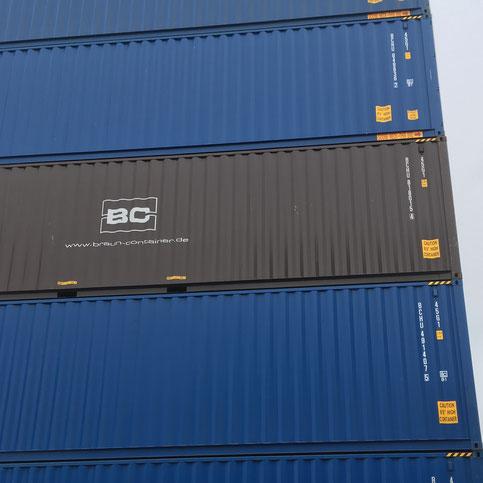 40 Fuß Container braun-container.de ContainerStapel Blau RAL 5010