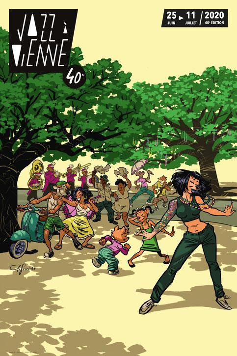 Visuel de la 40ème édition de Jazz à Vienne 2020, réalisée par le dessinateur Juanjo Guranido.
