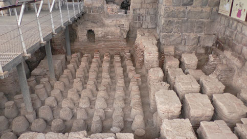 Remains of the large public Bath House, caldarium, hot room
