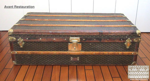 restauration d 39 une ancienne malle goyard abim malle louis vuitton. Black Bedroom Furniture Sets. Home Design Ideas