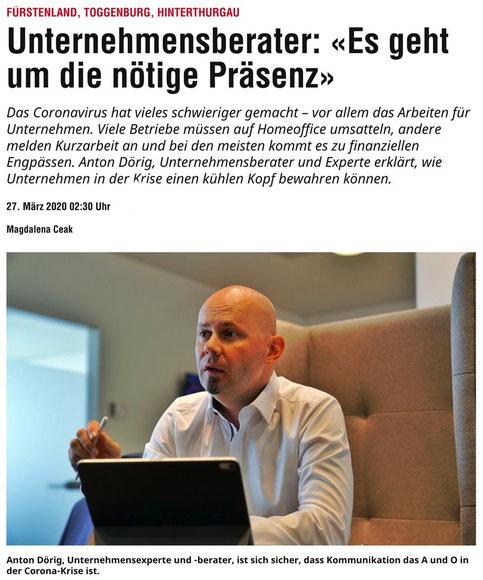 Anton Dörig im Interview / Unternehmensberater und Fühurngs-Experte erklärt worauf es in Krisen ankommt!